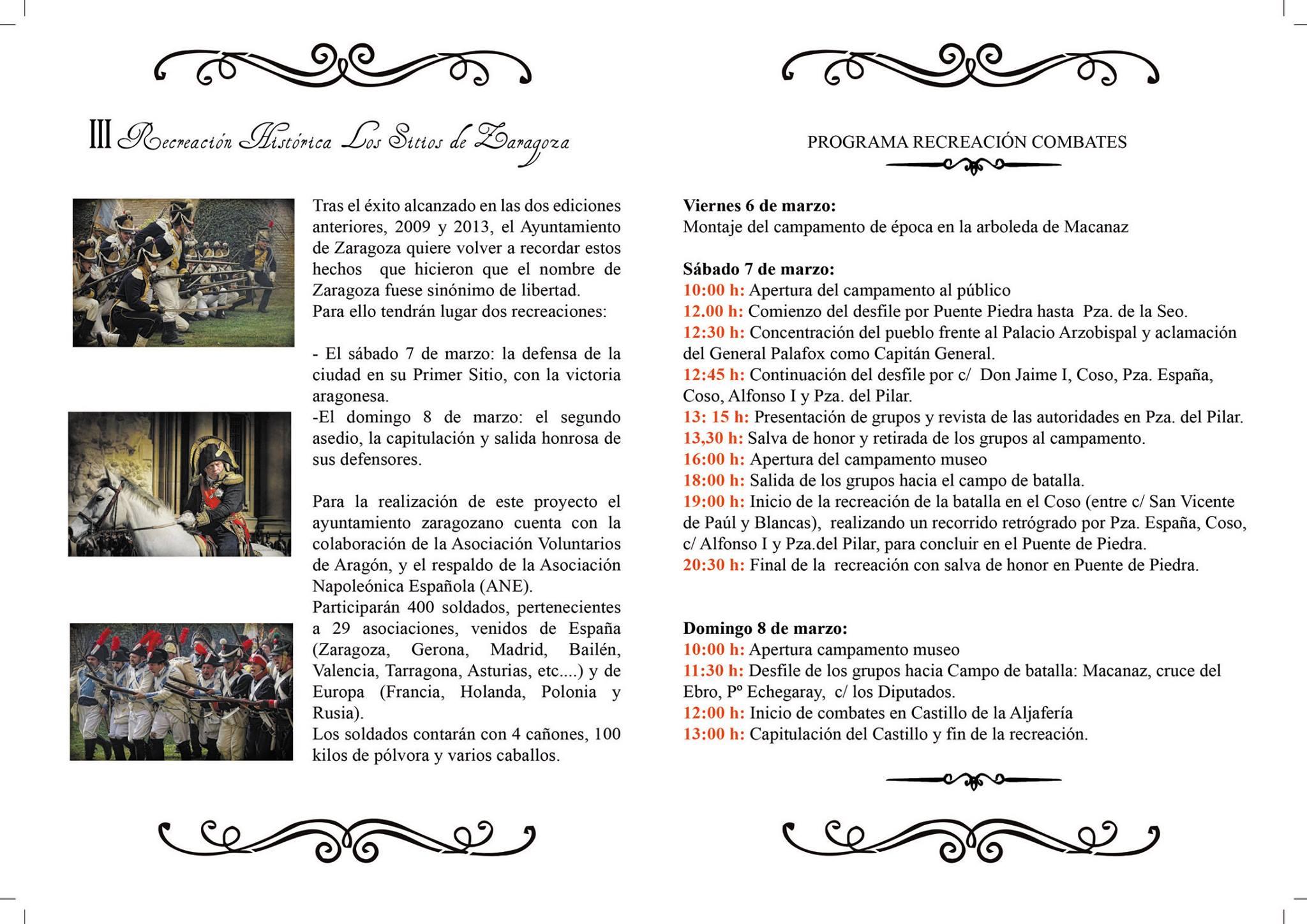 III Recreación histórica de los Sitios de Zaragoza